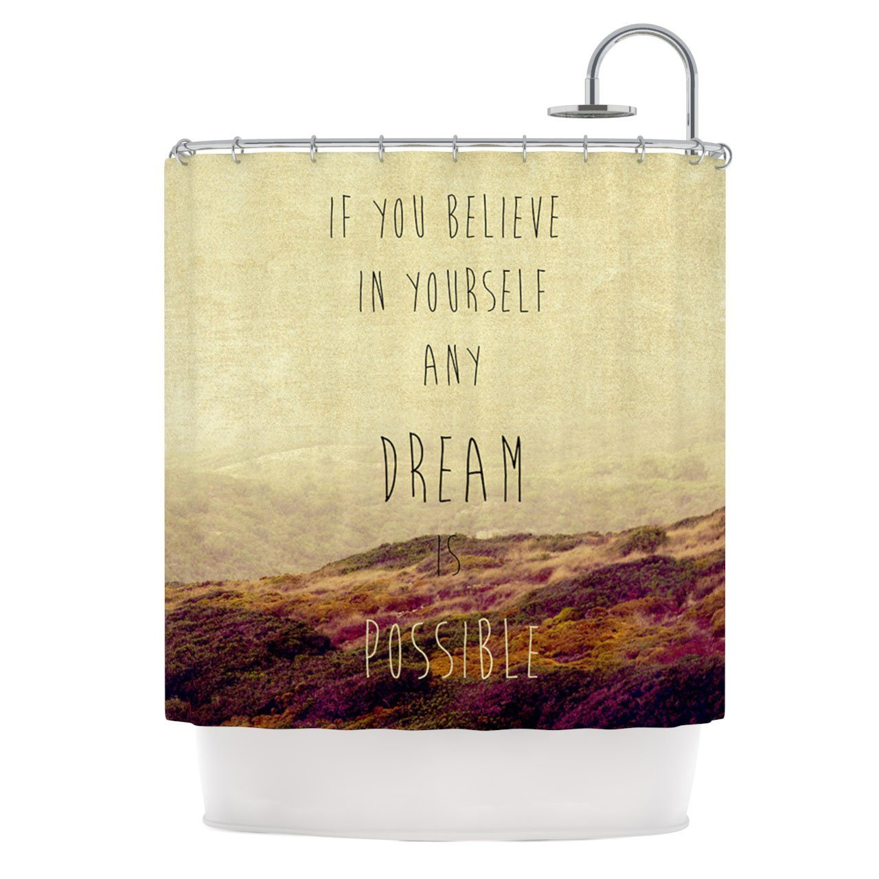 Kess InHouse Ingrid Beddoes Believe Desert Quote Shower Curtain
