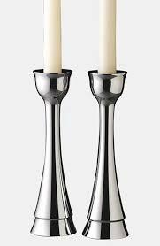 silver contemporary Nambé Candlesticks