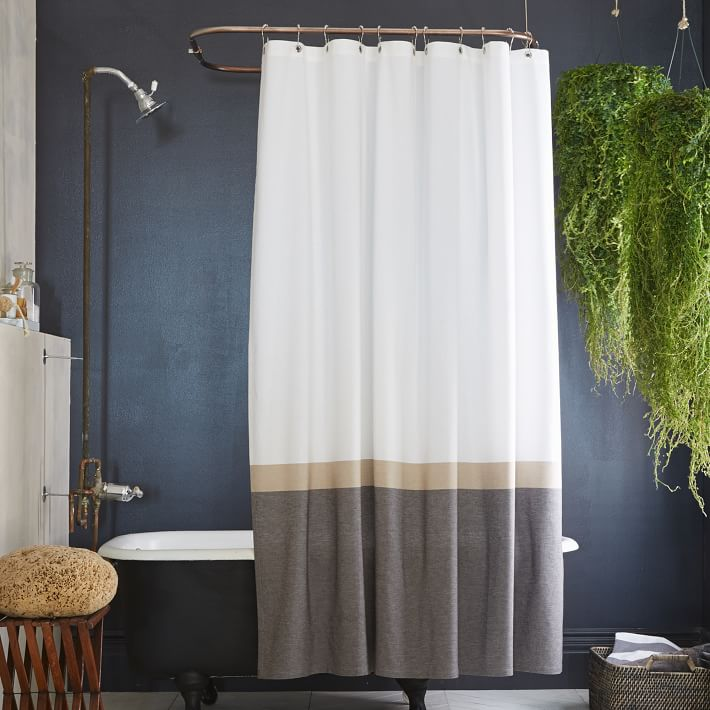 brown and white shower curtain. Slate Horizon Stripe Shower Curtain Top 20 Curtains  Decoholic