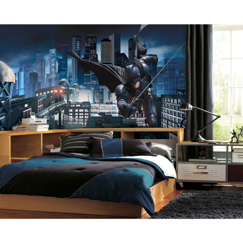 boys bedroom decrating idea wall mural batman