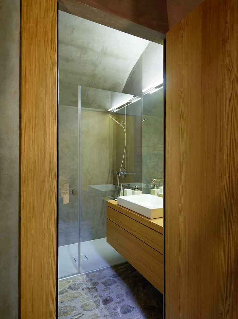 light wood with concrete contemporary bathroom