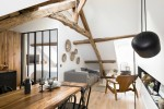 white walls with rustic wood beams