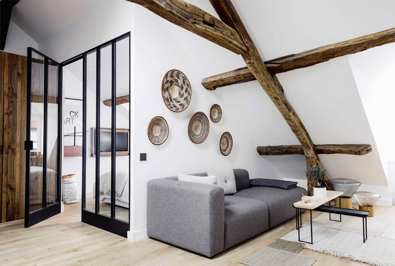 white walls with rustic wood beams 4