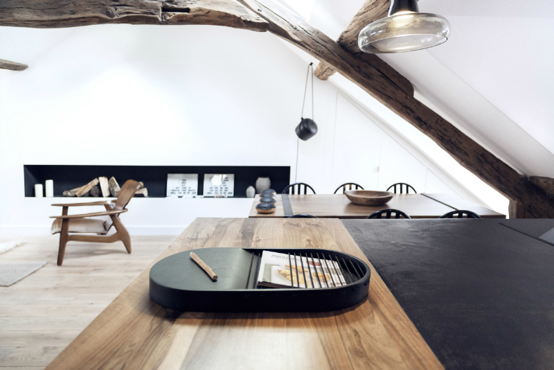 white walls with rustic wood beams 7