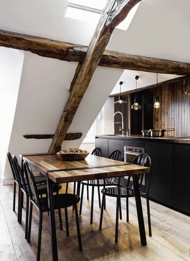 white walls with rustic wood beams 8