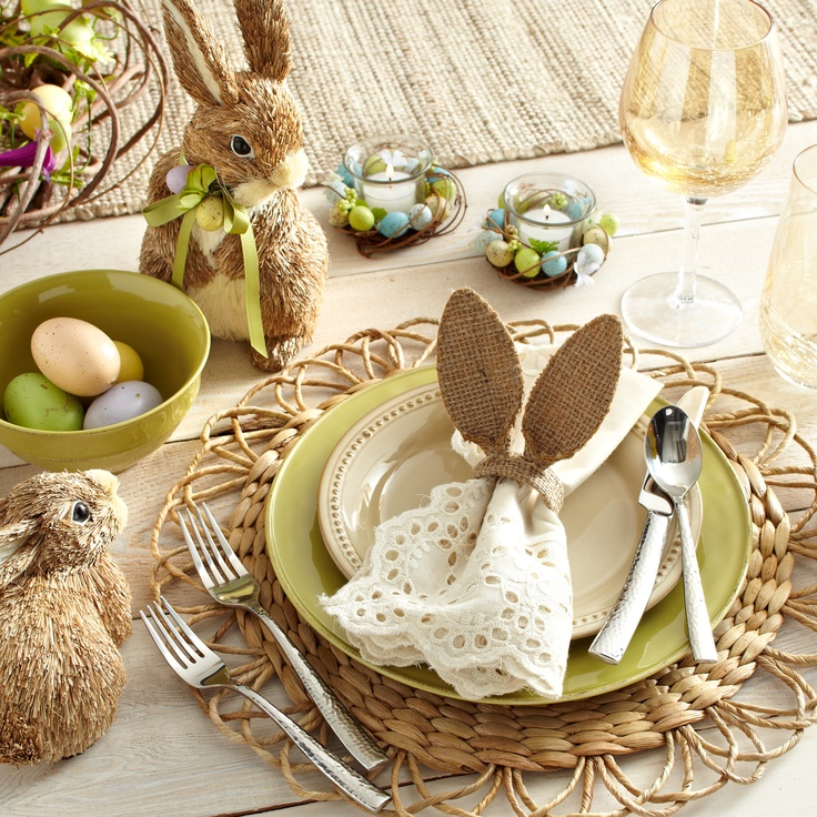 Easter Table Decorations with bunny and eggs