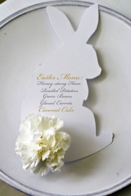 menu written in a bunny card