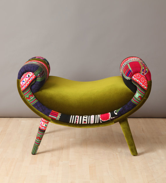 Retro style handmade pouf upholstered with best quality fabrics with beautiful combination of lovely colours.