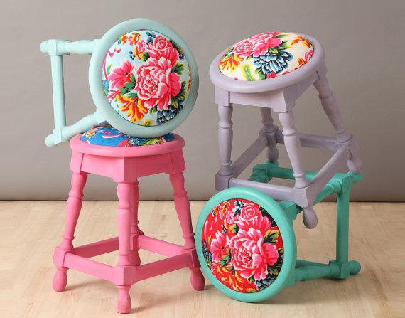 colorful bohemian style poufs
