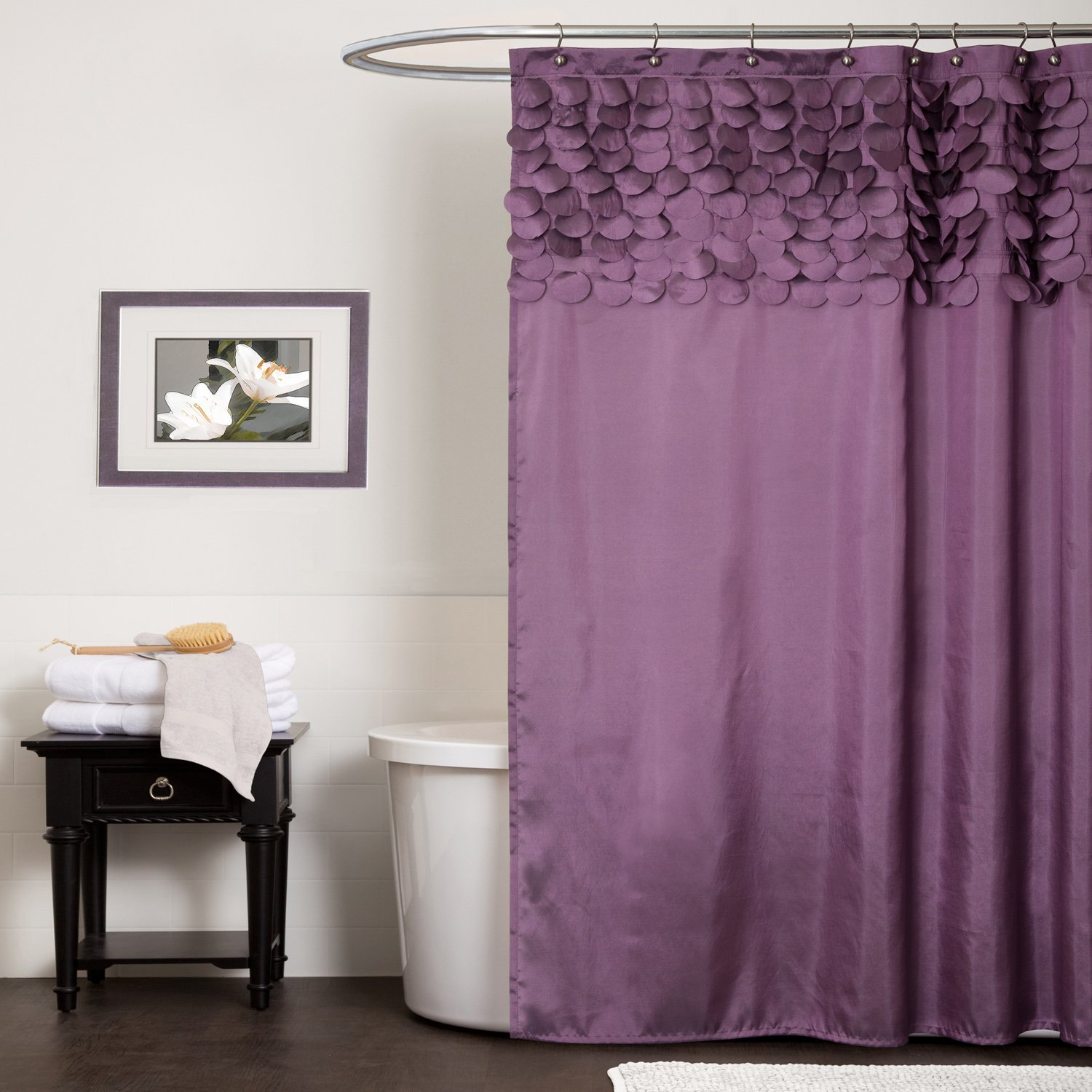 Country ruffled shower curtains - Purple Shower Curtain