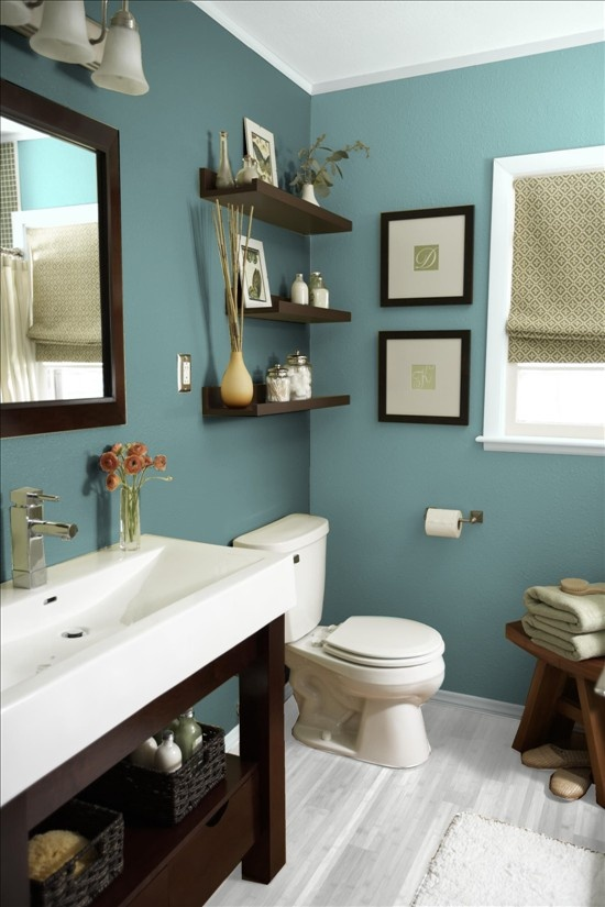 remodeling small bathroom with open shelves