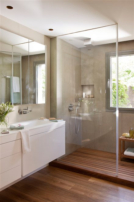 remodeling small bathroom idea with walk-in shower