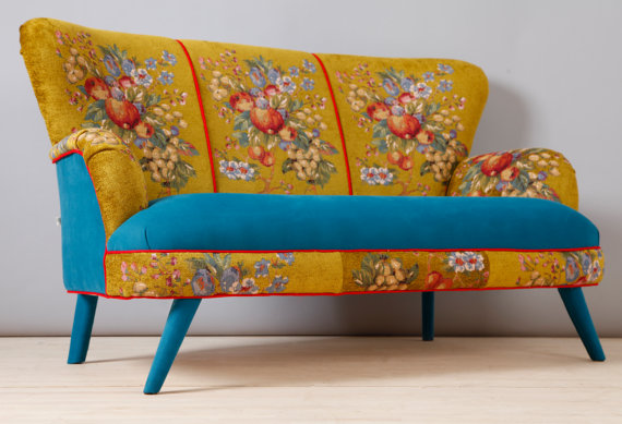 Bon Handmade Two Seater Sofa Upholstered With Best Quality Gobelin And  Turquoise Velvet Fabrics Mix