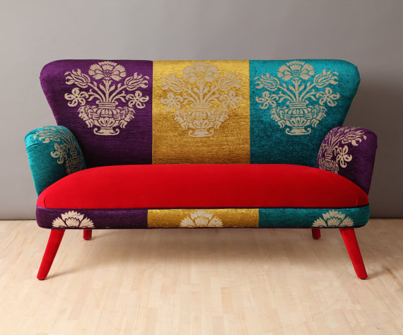 Handmade Two Seater Sofa Upholstered With Colourful Gobelin And Red Velvet  Fabrics Mix