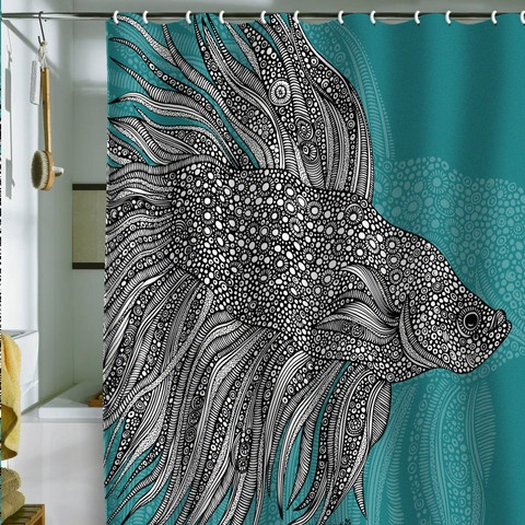 turquoise and black shower curtain. BETA FISH teal black and white Shower Curtain By Valentina Ramos Top 20 Curtains  Decoholic