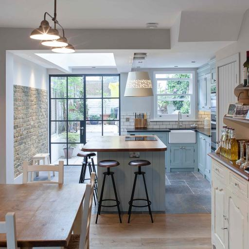 Tight narrow kitchen squeezed into the old closet wing for Small victorian kitchen designs