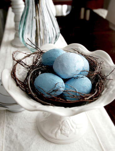 Crepe Paper or Tissue easter eggs decorating idea