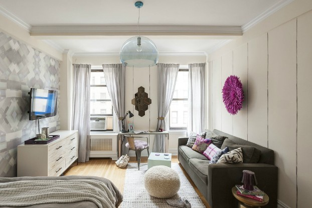 feminine studio apartment interior design