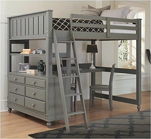 Simple gray Full Loft Bed with Desk