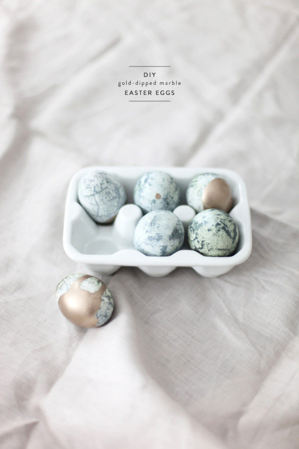 gold dipped marble Easter eggs