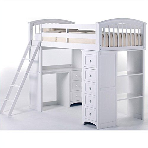 Kids School House Student Loft Bed in White