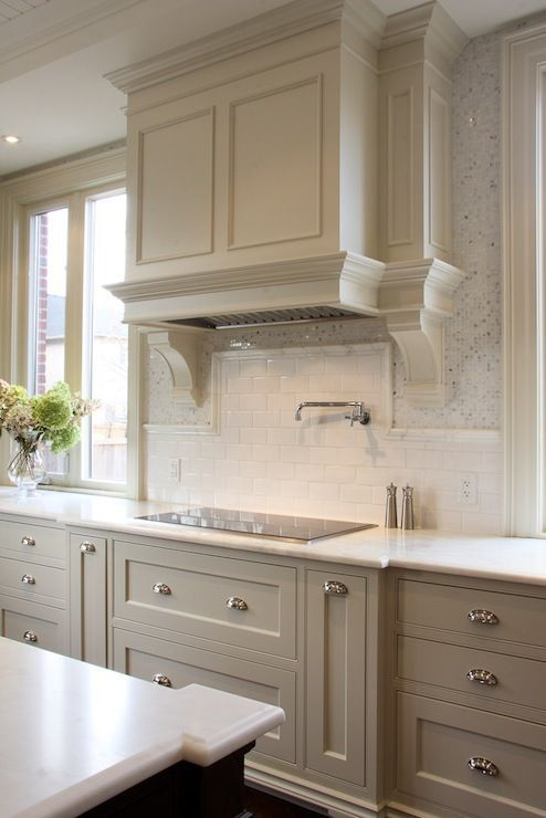 timeless gray beige moca kitchen with white subway tile