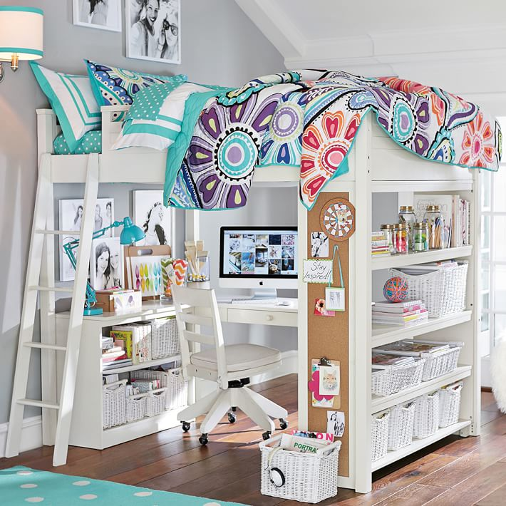 Vintage white loft bed with desk