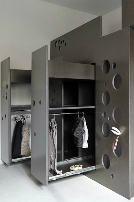 dark grey built in wardrobe