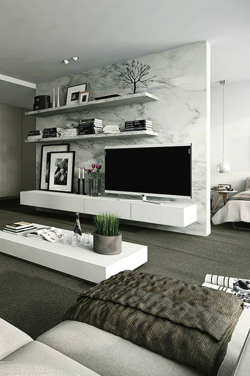 marble background for decorating the TV area