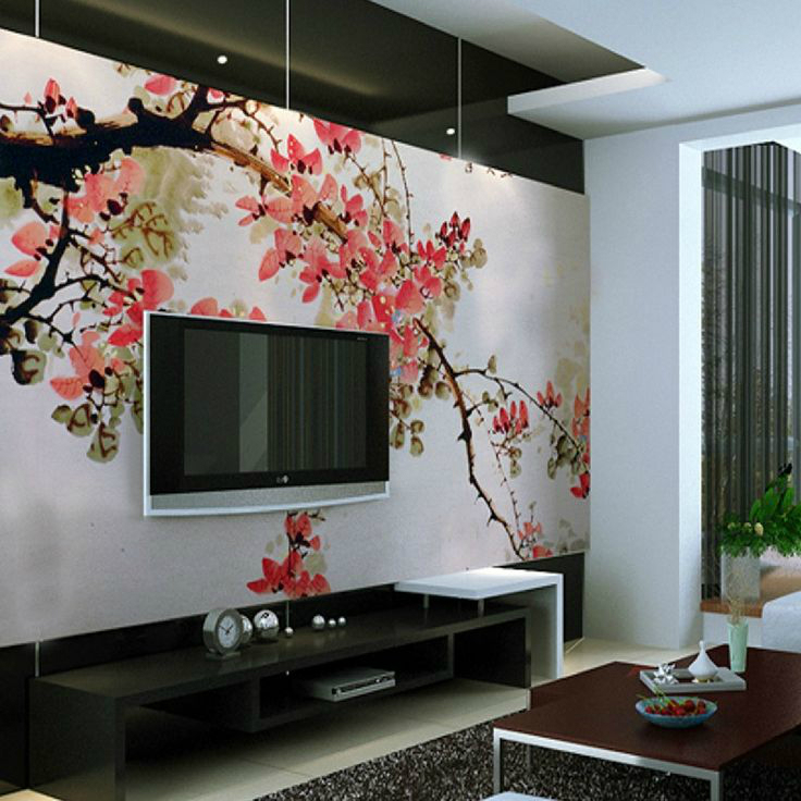 floral mural with a TV