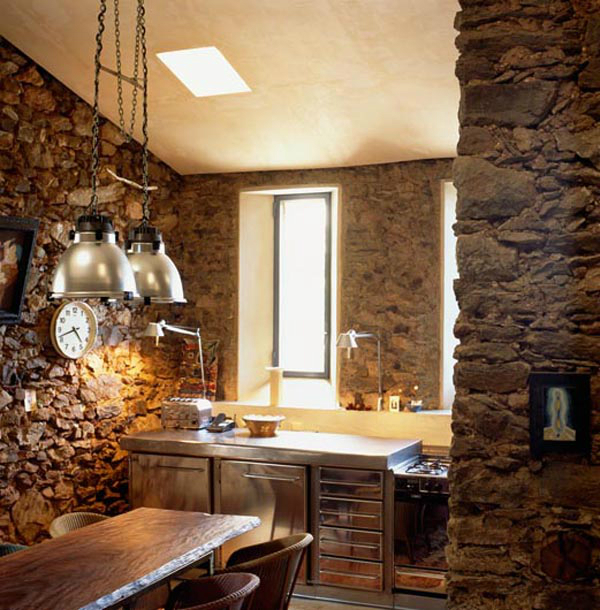 43 kitchen design ideas with stone walls decoholic for Interior rock walls designs