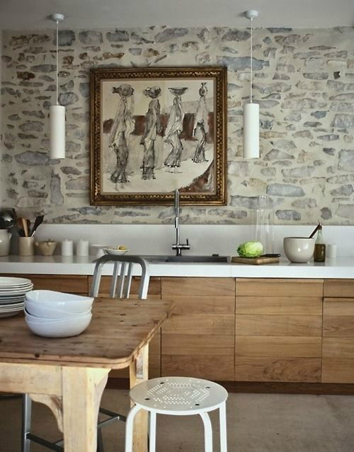 43 Kitchen Design Ideas with Stone Walls - Decoholic