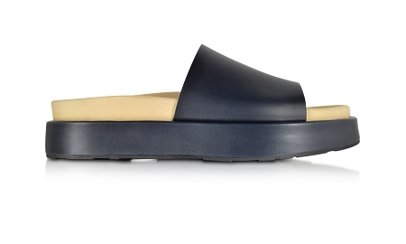 JIL SANDER Navy Blue Leather Flat Sandal
