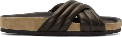 Isabel Marant  Black Ribbed Holden Flat Sandals