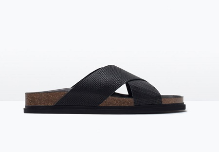 Leather cross-over sandal