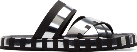 Acne Studios Black & Silver Metallic Stripe Kleate Sandals