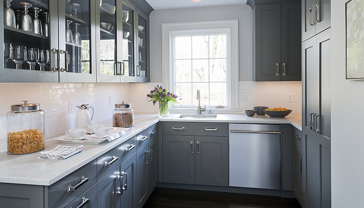 66 gray kitchen design ideas decoholic for Grey kitchen cabinets what colour walls