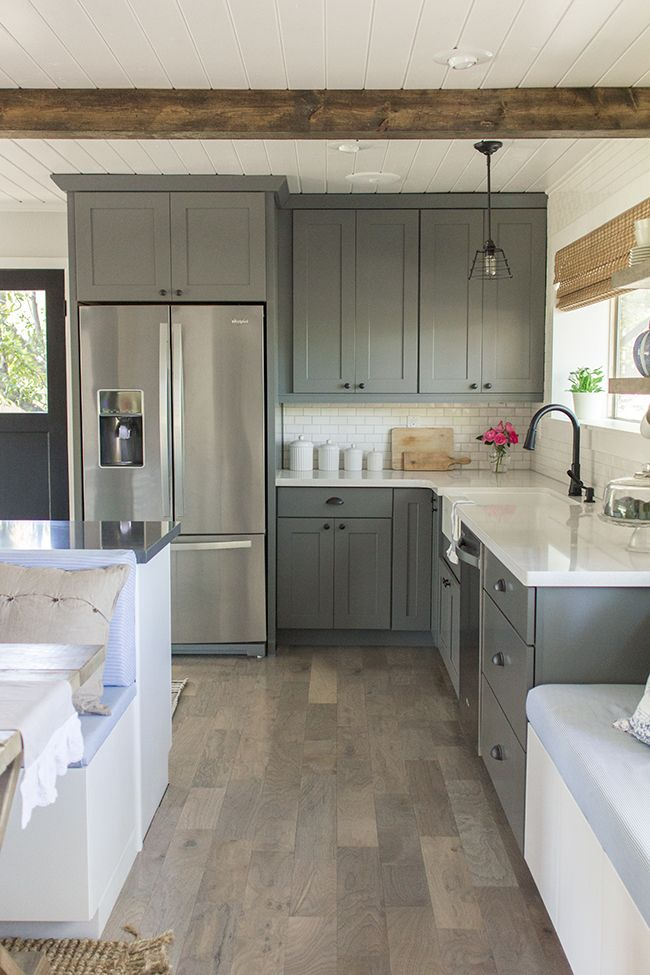 big fridge and grey cabinets