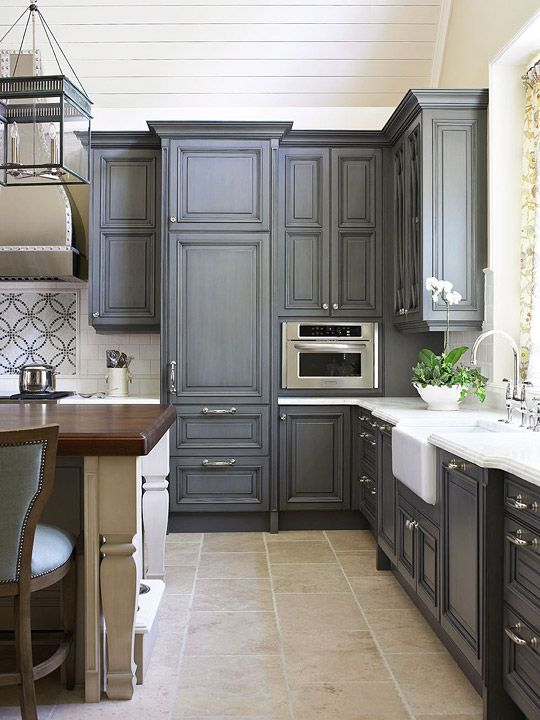 dark grey kitchen idea and cabinets