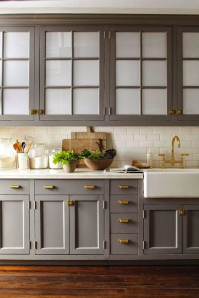 cabinets with glass and drawers in grey