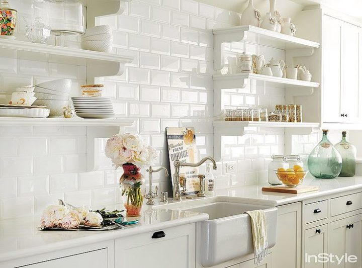 white tiles in kitchen