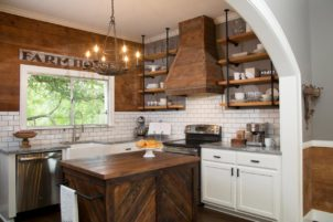 Kithen Open Shelves Industrial-style shelving made from plumbing pipes