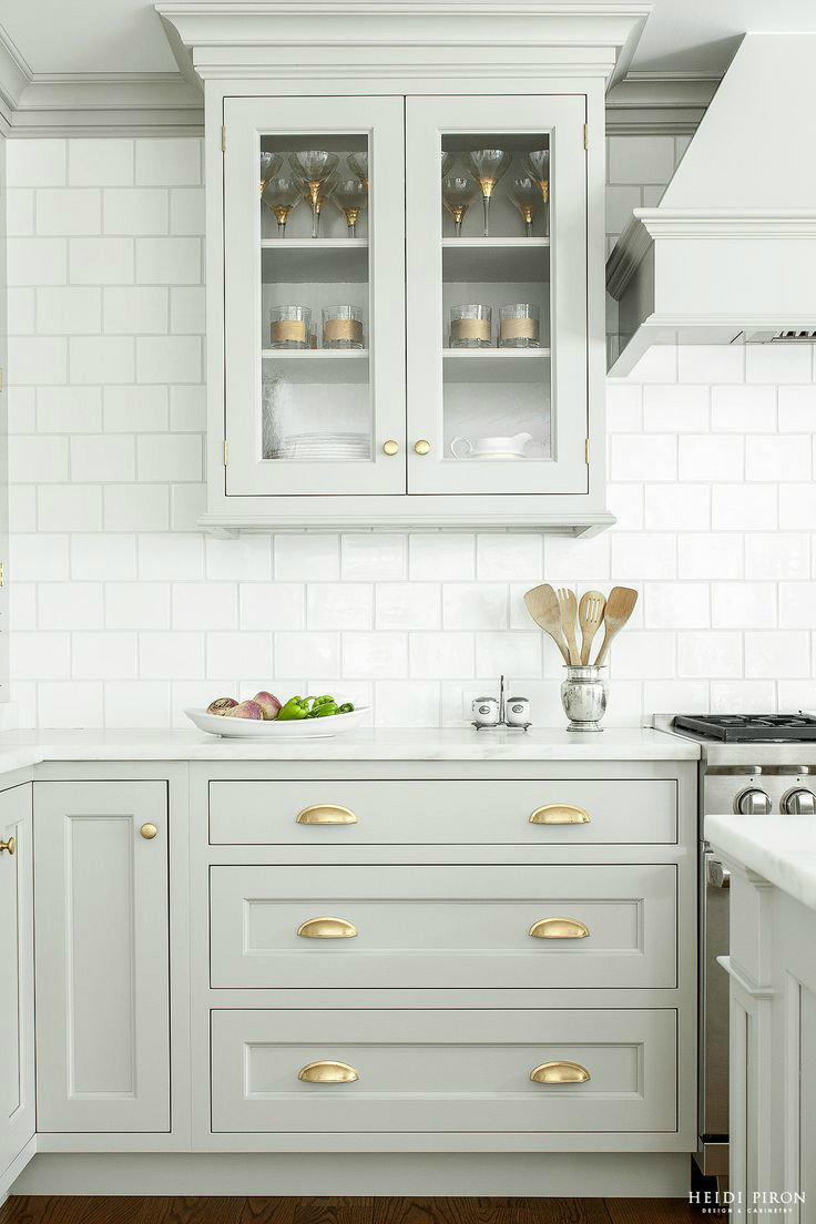 light grey cabinets with glass