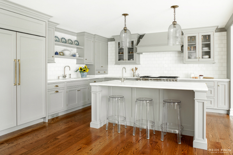 Gray And White Kitchen Designs white upper cabinets and gray lower cabinets with gray kitchen island Gray Kitchen Design Idea 55