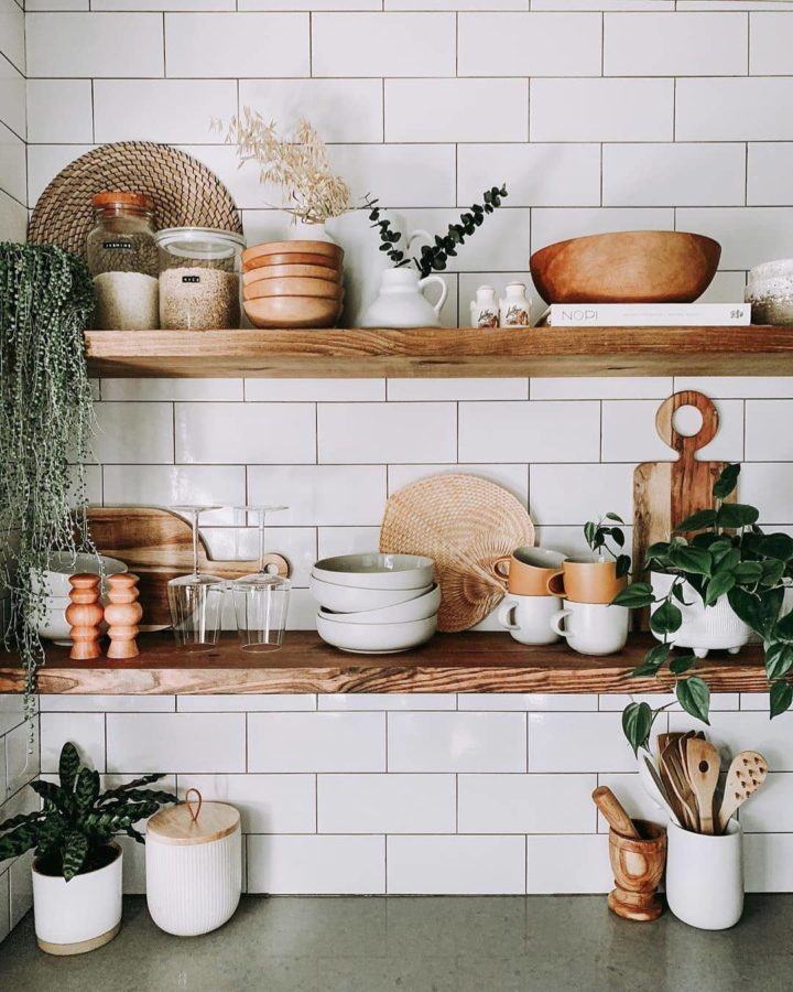 styling kitchen wood open shelves