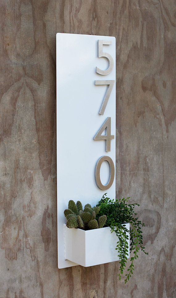 Wall Planter with Brushed Aluminum Address Numbers 3