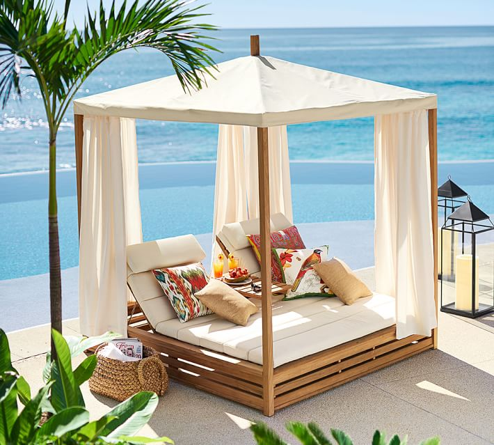 Beautiful outdoor teak daybed decoholic for Pool canopy bed