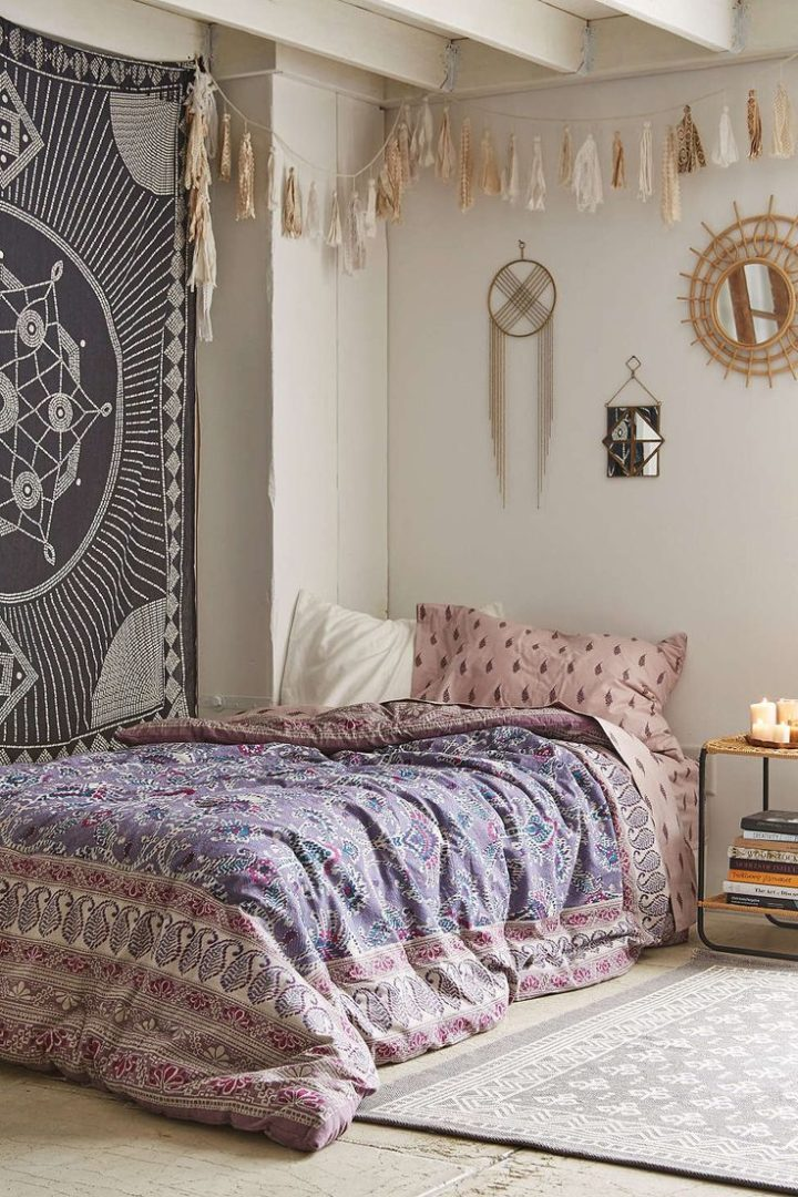 corner bed in bohemian style