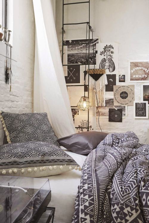 bohemian style room with patterns