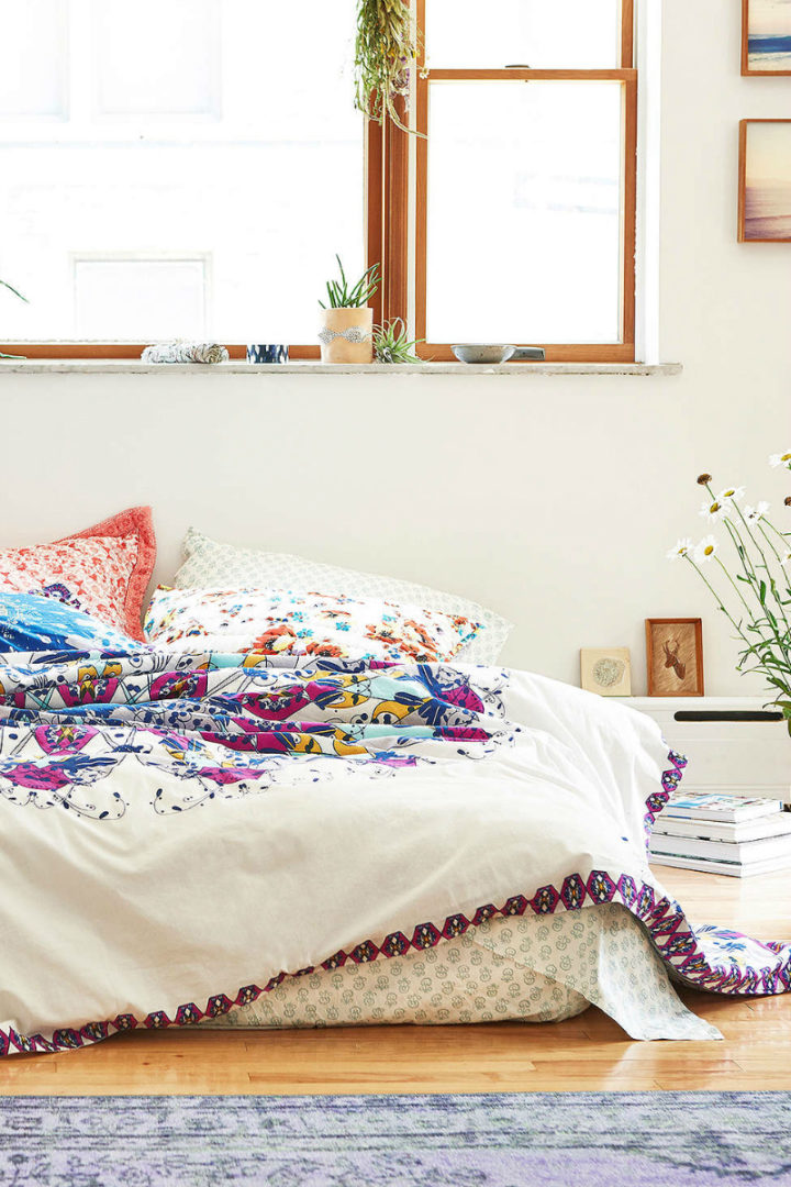 white walls in bohemian style room